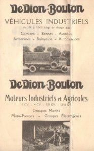 Especificaciones de los vehículos industriales de DeDion Bouton